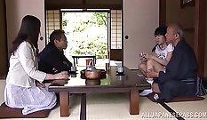 Beautiful petite Japanese teen takes a very hard deep