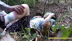 Amazing babe finger fucking and yummy creampie in the outdoors