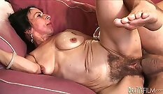 Closeup of dudes hairy pussy getting used