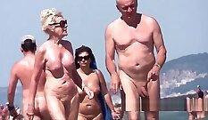 Blonde milf madlove on public beach