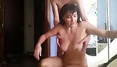 Chubby mature mom drink tea and gets fucked