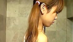 Asian whore eating cock at home