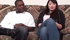 Asian Sweet pussy fucked in public place by black stud