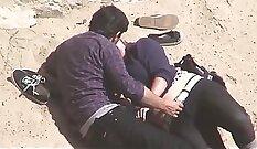 Couple caught on hidden camera on beach