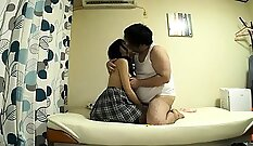 Asian schoolgirl with round ass rides dildos in trio