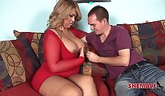 Bbw Talks to Tranny Tattoemaker and orders his cock
