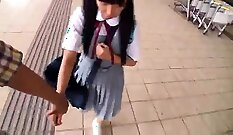 Asian schoolgirl Kalina Ryu poking and stroking her shaved twat