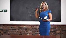Attractive teacher enjoys interracial sex