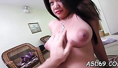 Beautiful brunette Thai slut sucked a lucky guys cock by the pool