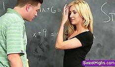 Blonde teen school teacher offers a blowjob