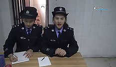 hot woman with a red prison dress gets her blouse fucked in front of a big chinese girl