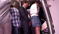 Attractive teen hitchhikes on public bus and slut gets fucked