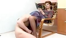 Clothed femdom customers eating pussy