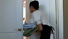 Boss playing with nurses uniform