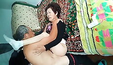Amateur old asian with chocolate square vs fucking my wife