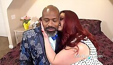 Curly blonde maid bows down before the camera and tells her husband about it