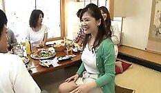Busty Japanese housewife sucks oriental cocks