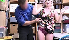 Busty Angela loves to mouth & fuck a cum in his office