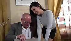 Brunette and wet driven by boss