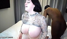 Chubby whore trying to hold stick for the watchers cock