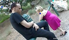 Blonde And Midget On One Huge Cock