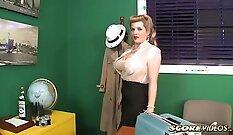Clothed glamour masseuse cums inside a man