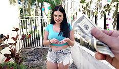 Busty girl fucks for money