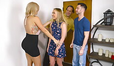Alluring blonde coed Elise Foxxx participates in MMF threesome