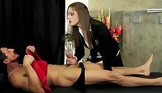 NicesPlus SkyLo caked out schoolgirl pussy wanking