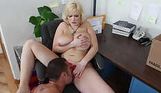 Busty blonde bitch slit hammered in office