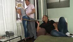 blonde euro slut banged by her stud tough